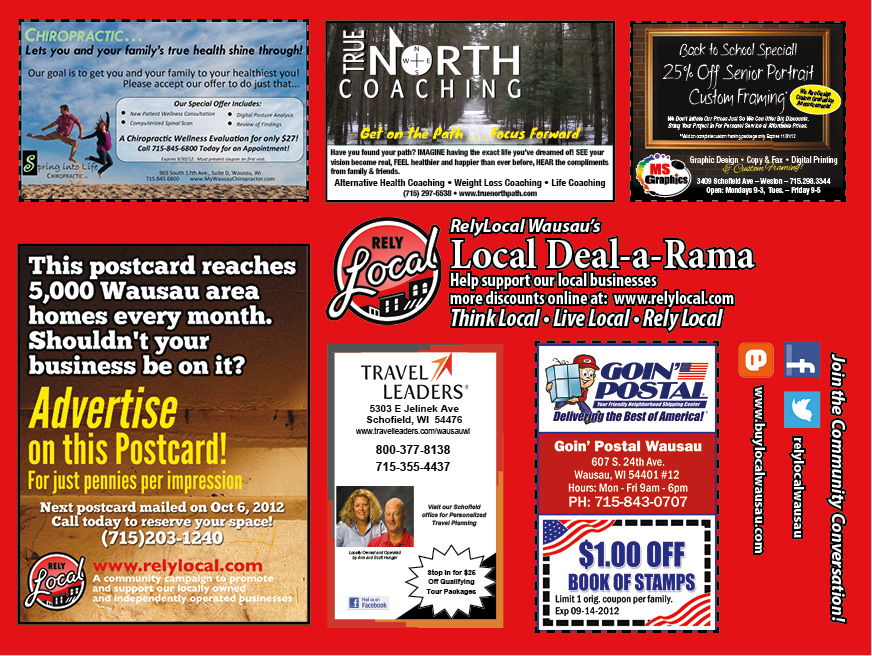 RelyLocal Wausau Deal-a-Rama co-op postcard