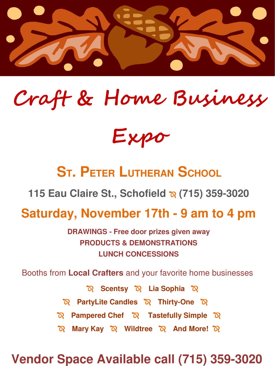 St peter s school schofield holiday craft fair buy for Michaels crafts wausau wi