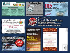 RelyLocal Wausau deal-a-rama local deals postcard